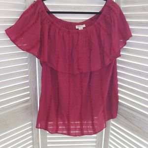 Peasant top Blouse red Style & Co sz 2X